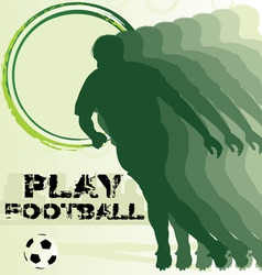 football poster with soccer player silhouette vector image vector image