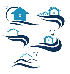 House and waves icon vector image