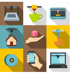 industrial 3d printer icons set flat style vector image