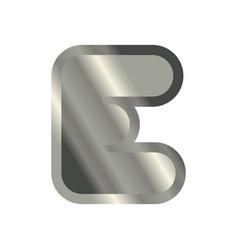 Letter e steel font metal alphabet sign iron abc vector