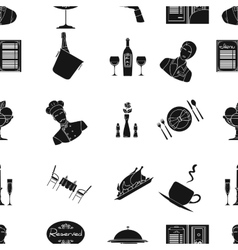 Restaurant pattern icons in black style Big vector image vector image