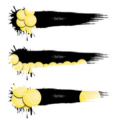set grunge banners with blots and tennis balls vector image vector image