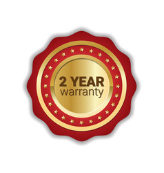 2 years warranty badge golden label icon isolated vector image
