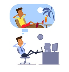 Businessman dreaming about vacation vector image