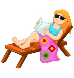 cute woman cartoon sitting relaxed on the beach vector image vector image