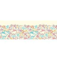 Elephants With Flowers Horizontal Seamless Pattern vector image