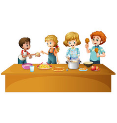 family having meal on the table vector image vector image