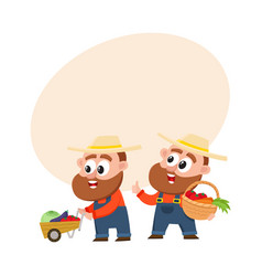 funny farmers in overalls harvesting vegetables vector image vector image