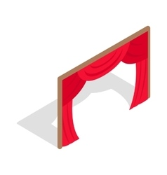 Stage curtains icon isometric 3d style vector image