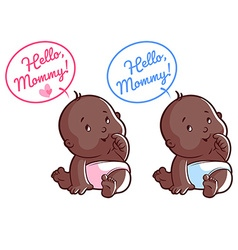 Two cute toddler Card for mom Hello Mommy vector image