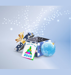 2018 greeting card with magic gift box vector image