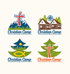 A set of christian logos of camps vector