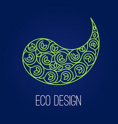 Abstract natural linear logo green symbol yin vector