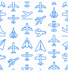Airplane seamless pattern with thin line icons vector