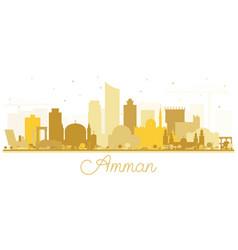 Amman jordan skyline silhouette with golden vector
