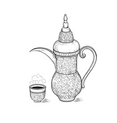 Arabic vintage coffeepot and figured cup with a vector