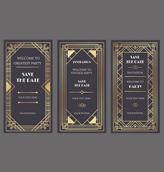 art deco art banner fancy party event invitation vector image