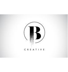 B brush stroke letter logo design black paint vector
