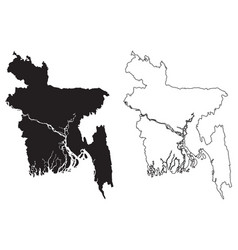 Bangladesh country map black silhouette vector