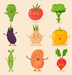 big bright set of funny cartoon vegetables vector image