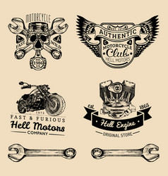 Biker club signs motorcycle repair logos vector