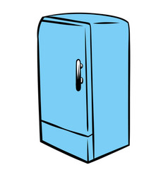 Blue fridge icon cartoon vector