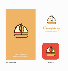 boat company logo app icon and splash page design vector image