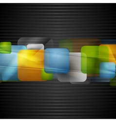 Bright squares on the dark striped background vector image