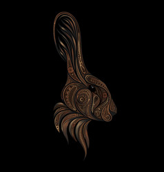 brown rabbit from beautiful patterns vector image