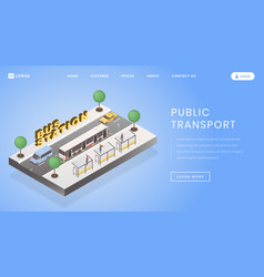 Bus stop station landing page template vector