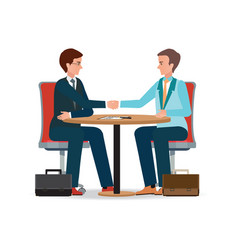 businessman shaking hand over a round vector image