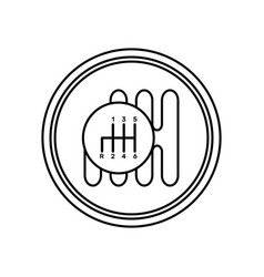 Car gearbox icon in line art style isolated on vector