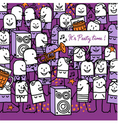 Cartoon people and party time card vector