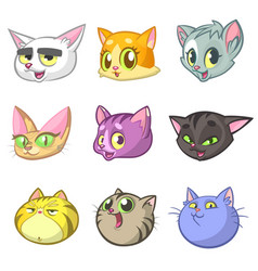 Cartoon set of funny cats icon heads vector