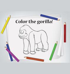Children gorilla coloring worksheet vector