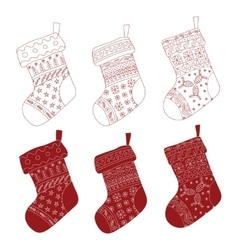 Collection of Christmas red stockings vector image