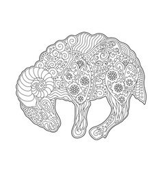 Coloring book page with zodiac symbol aries vector