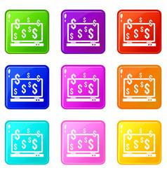 computer monitor and dollar signs icons 9 set vector image