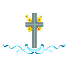 Cross icon with spring flowers vector