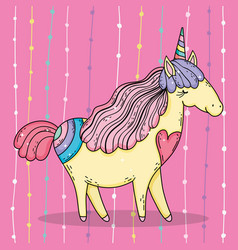 cute unicorn animal with horn and mane vector image