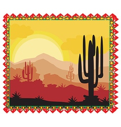 Desert wild nature landscape with cactus vector