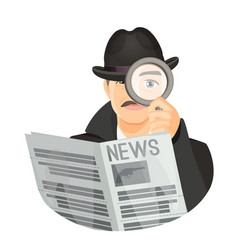 detective in hat with mustaches holds newspaper vector image