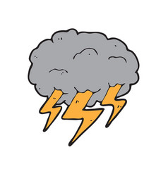 digitally drawn lightning and clouds design hand vector image