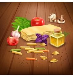 Dry pasta pasta realistic composition poster vector