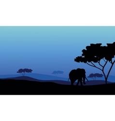 Elephant in fields scenery vector