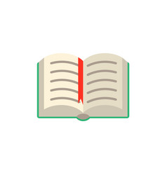flat opened book with red bookmark tag vector image