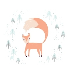 Fox in winter pine forest isolated on white vector image