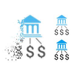Fractured pixelated halftone bank scheme icon vector