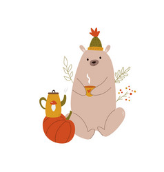 funny bear in a hat with teapot and teacup autumn vector image