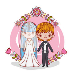 girl and boy couple marriage with flowers vector image
